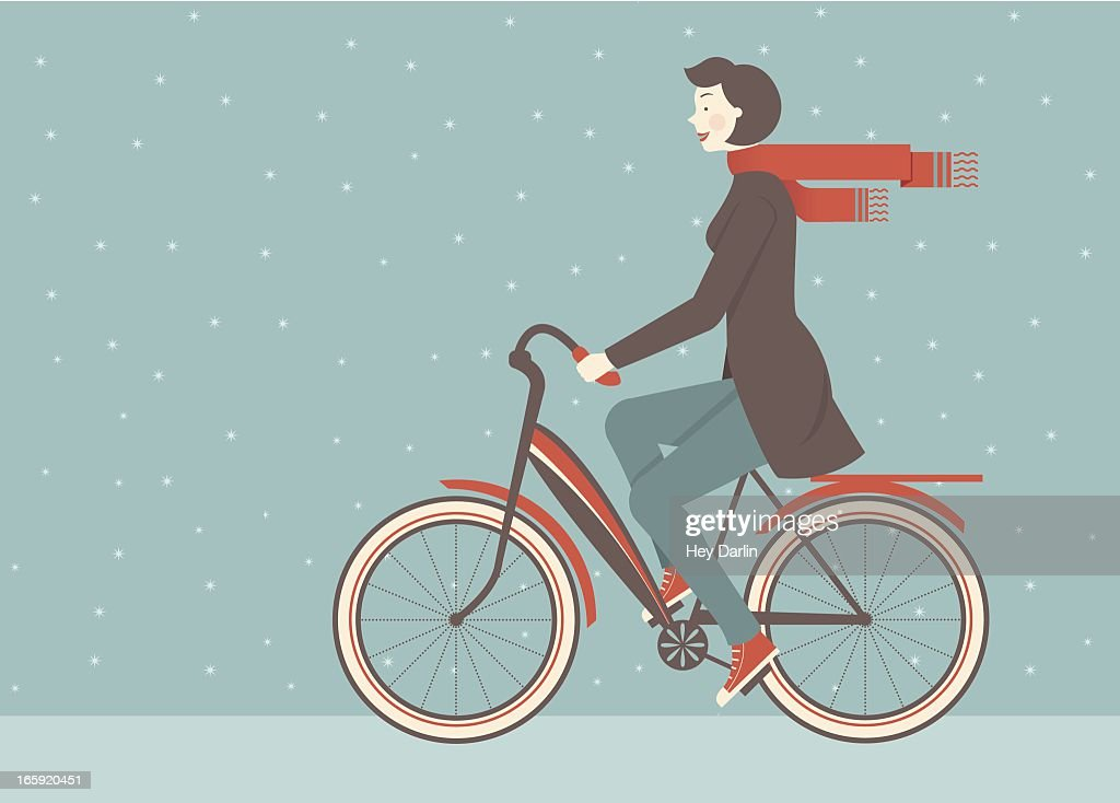 Illustration of woman in scarf riding a bicycle in the snow : stock illustration