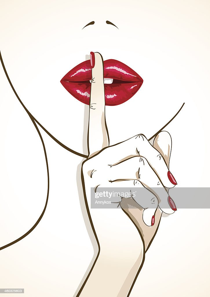 Illustration of woman lips with finger in shh sign