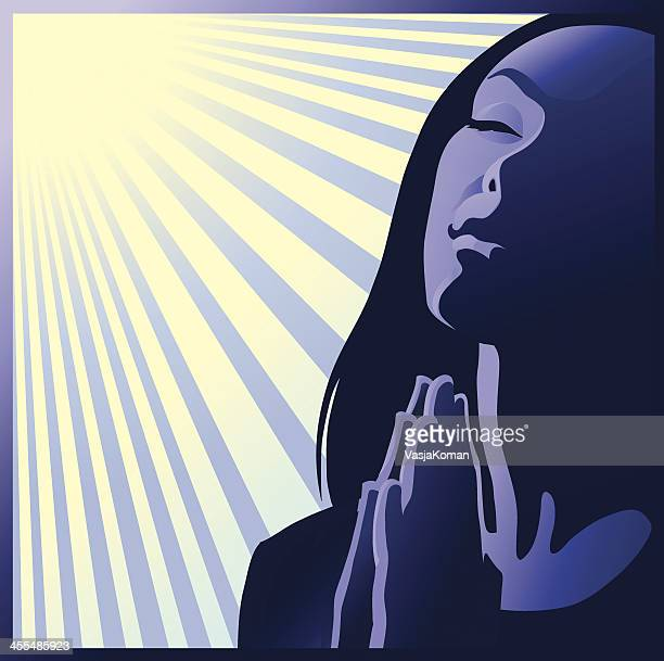 illustration of woman praying with the sun shining down  - praying stock illustrations, clip art, cartoons, & icons