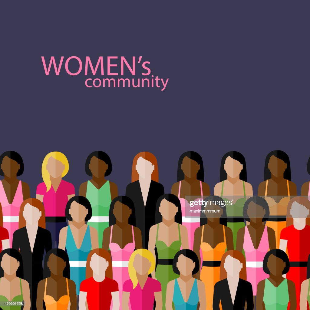 illustration of women community with group of girls and women