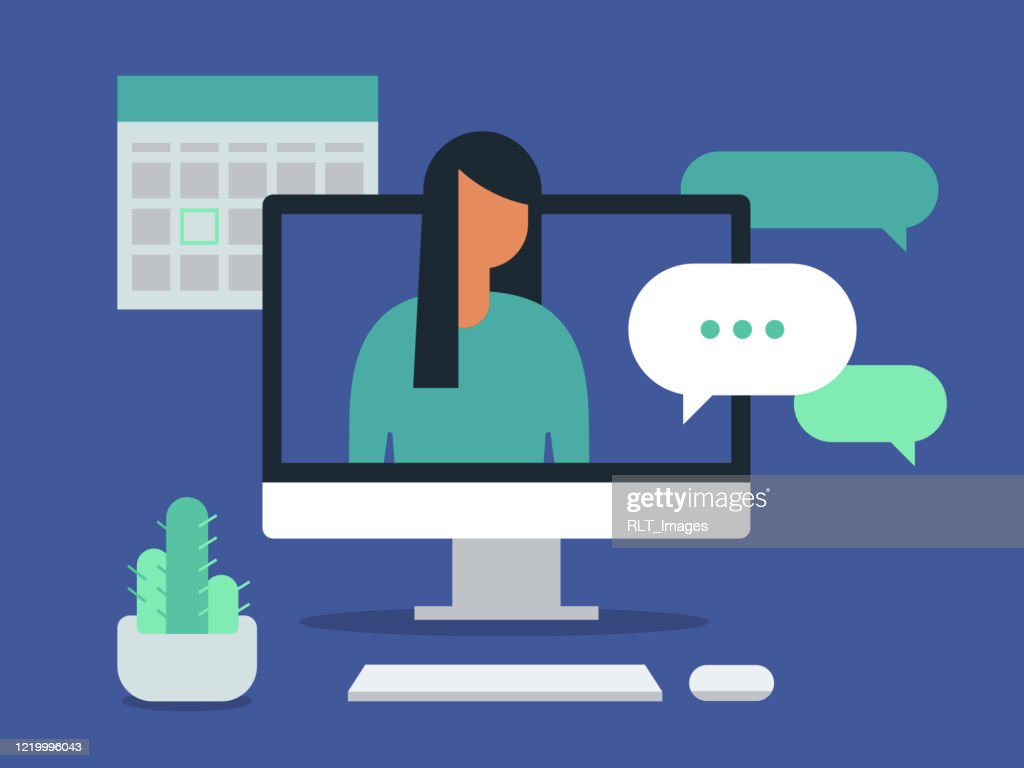 Illustration of workspace with young woman having discussion on desktop computer screen : Stock Illustration