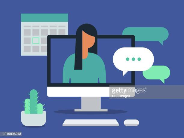 illustration of workspace with young woman having discussion on desktop computer screen - computer stock illustrations