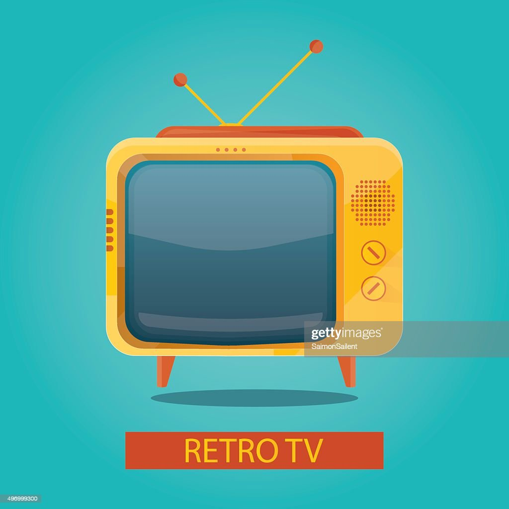 illustration of yellow retro tv on colorful background