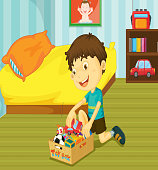 Illustration of young boy putting his toys on toy box