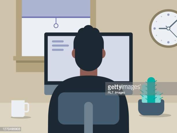 きちんとしたホームオフィスで働く若者のイラスト - 男性一人点のイラスト素材/クリップアート素材/マンガ素材/アイコン素材