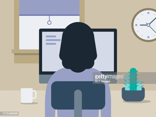 illustration of young woman working in tidy home office - one young woman only stock illustrations