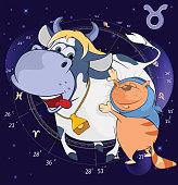 Illustration of  Zodiac Signs Taurus Cartoon Character