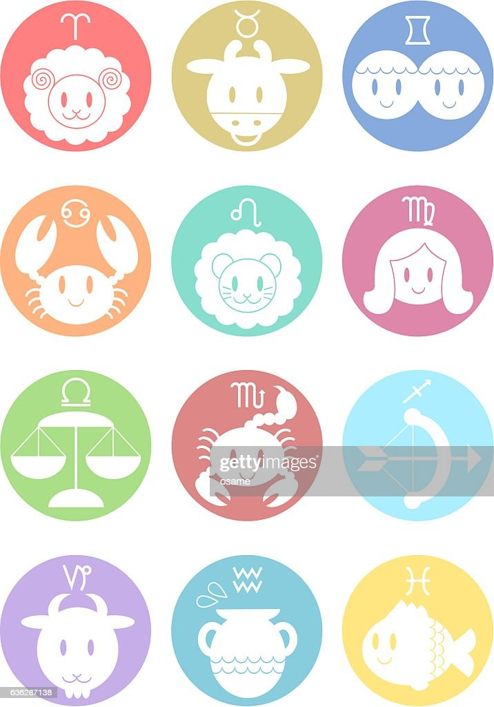 Illustration of zodiac signs(colorful)