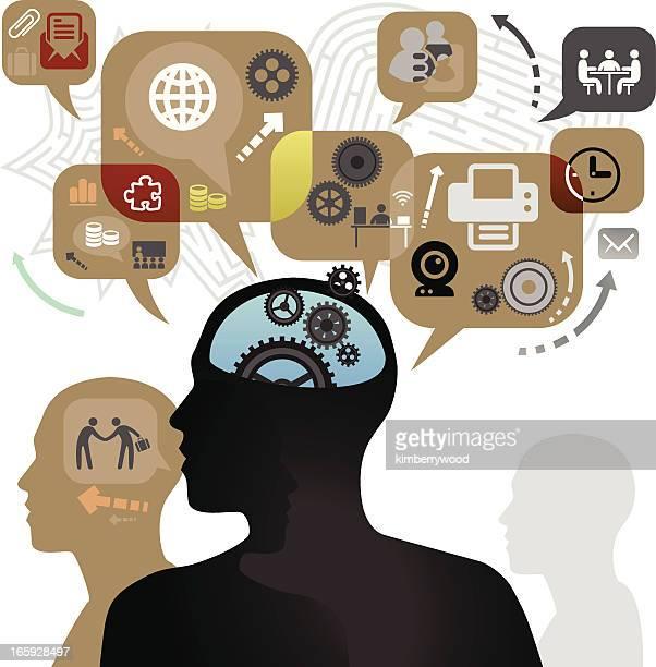 a illustration off businessman thinking - cerebral hemisphere stock illustrations, clip art, cartoons, & icons