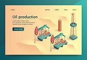 Illustration Oil Production Isometric Lettering.