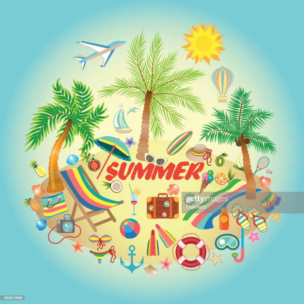 Illustration on a summer holiday theme with paradise island on sea background.
