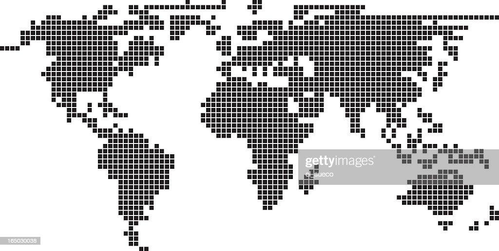 Illustration, pixel, world, map