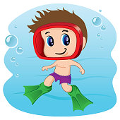 Illustration representing Child practicing diving, swimming or aquatic tourism. Ideal for sports and leisure materials