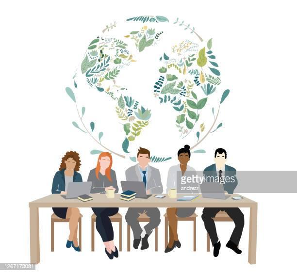 illustrazioni stock, clip art, cartoni animati e icone di tendenza di illustration representing corporate environmental responsibility - giornata mondiale della terra