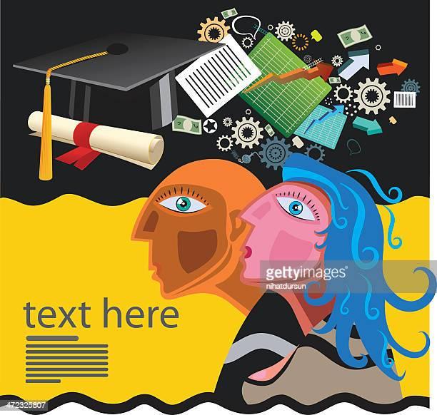 illustration, die bildung und finanzen - hochschulstudium stock-grafiken, -clipart, -cartoons und -symbole