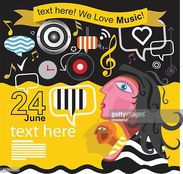 illustration representing the love for music - soundtrack stock illustrations, clip art, cartoons, & icons