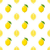 Illustration Seamless pattern Flat lemon isolated on white background , fruit patterns texture fabric , wallpaper minimal style , Raw materials fresh fruits , vector