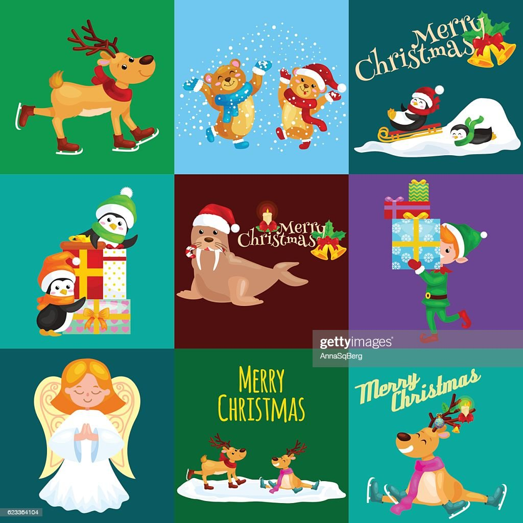 Illustration set animals winter holiday North Pole penguins presents and