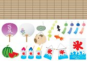 Illustration set in Japanese summer