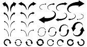 Illustration set of curved arrows (monochrome)