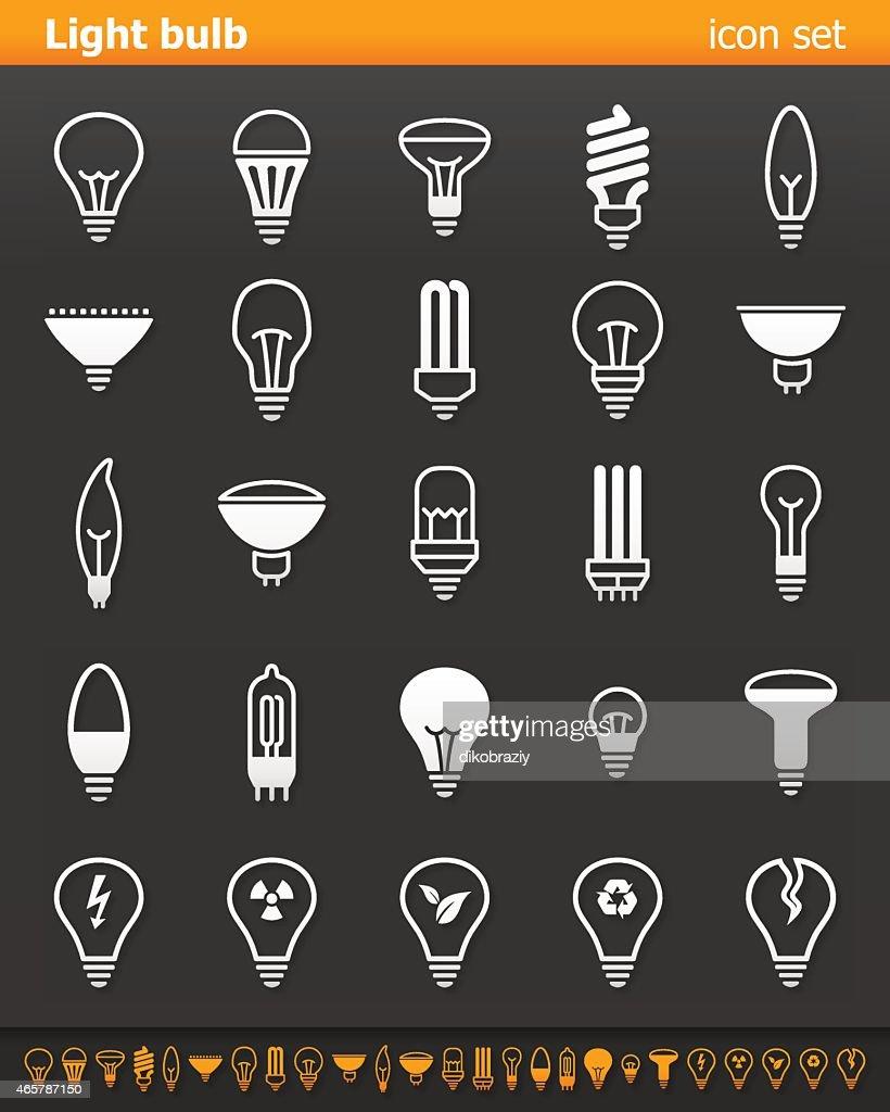 Illustration set of white light bulb icons on gray