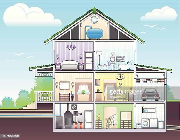 illustration showing cutaway of house - boiler stock illustrations, clip art, cartoons, & icons