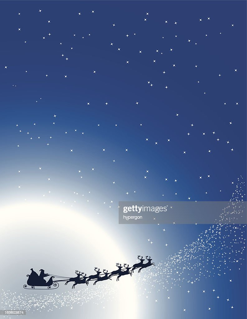 Illustration showing Santa on a sleigh passing moon