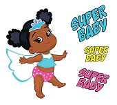 Illustration Super Hero Baby Girl multicultural.