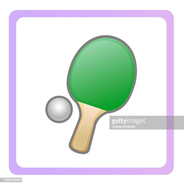 illustration - symbol of a game of table tennis in a colored frame - badminton racket stock illustrations