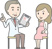 Illustration that a young pregnant women consults a doctor