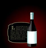 Illustration the elite wine bottle with white blank label