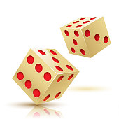 Illustration two Gold Dices. Gambling icon.