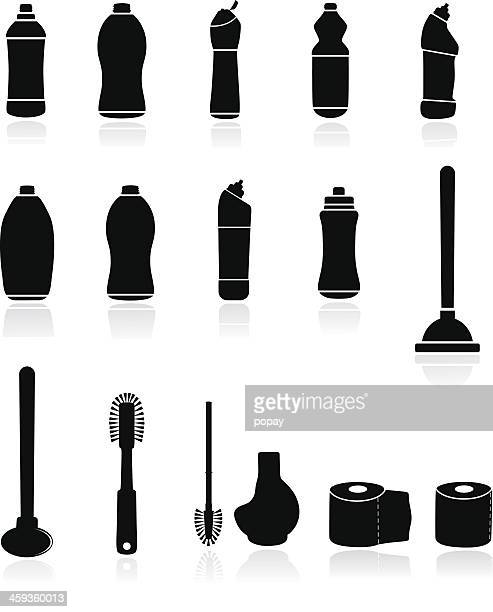 wc illustration - toilet brush stock illustrations, clip art, cartoons, & icons