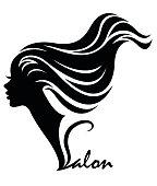 illustration vector of women silhouette black icon on white background