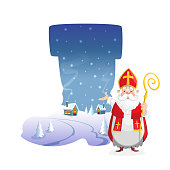 Illustration winter landscape in form of boot with cute Saint Nicholas