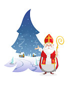 Illustration winter landscape in form of pine with cute Saint Nicholas