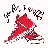 Illustration with a pair of vintage red sneakers