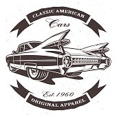 Illustration with american classic car