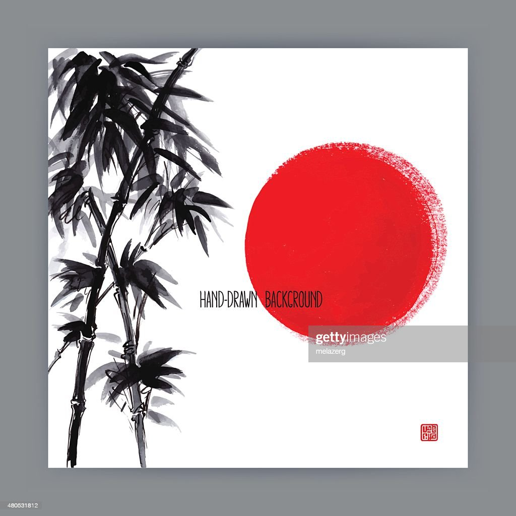 illustration with bamboo branches : Vector Art