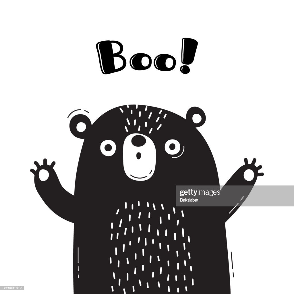 Illustration with bear who shouts boo for design of funny avatars welcome posters and cards cute animal stock vector