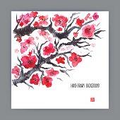 illustration with blooming sakura