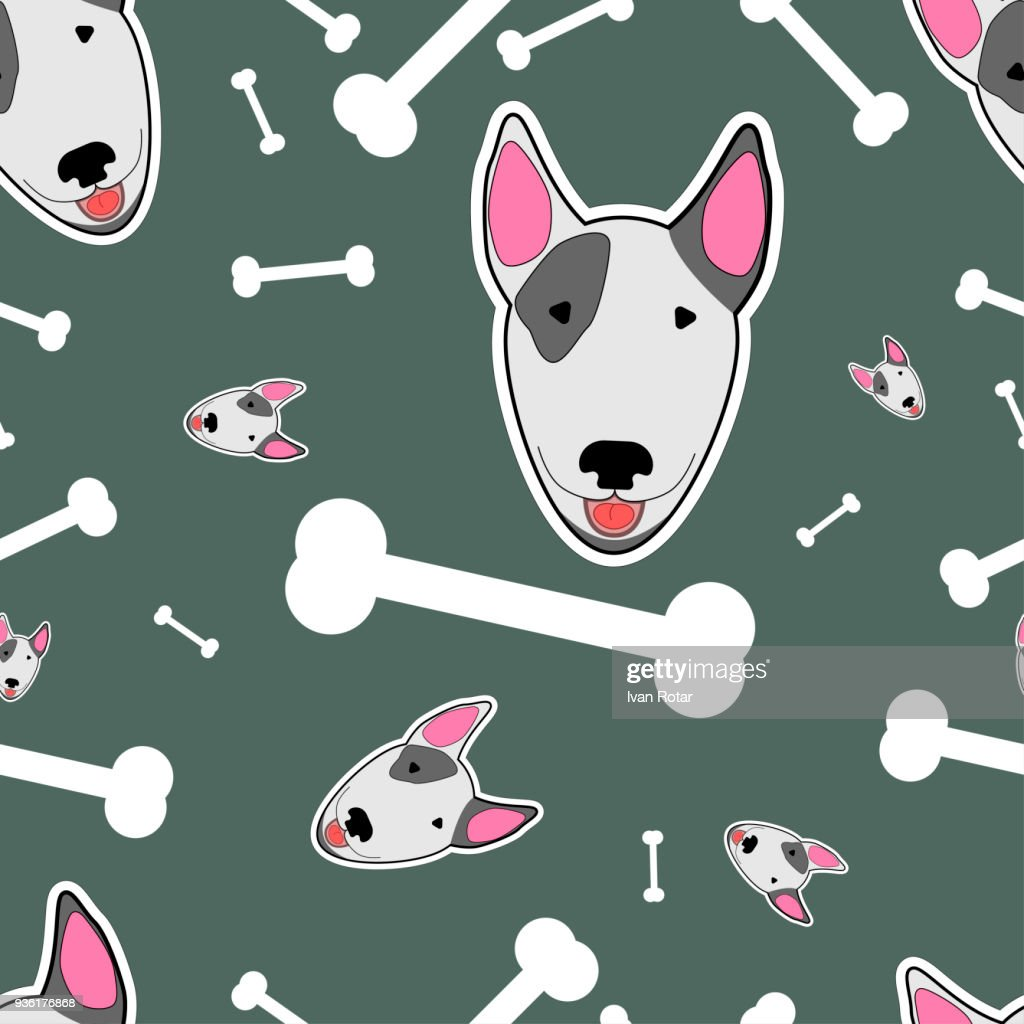 illustration with bull terrier and bones