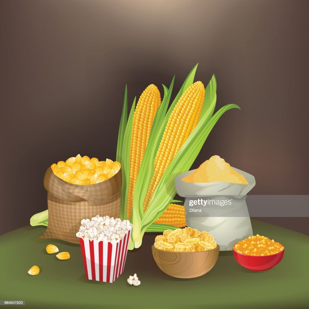 Illustration with corn foodstuff