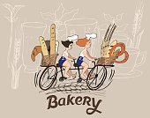 Illustration with cute characters - Bakery