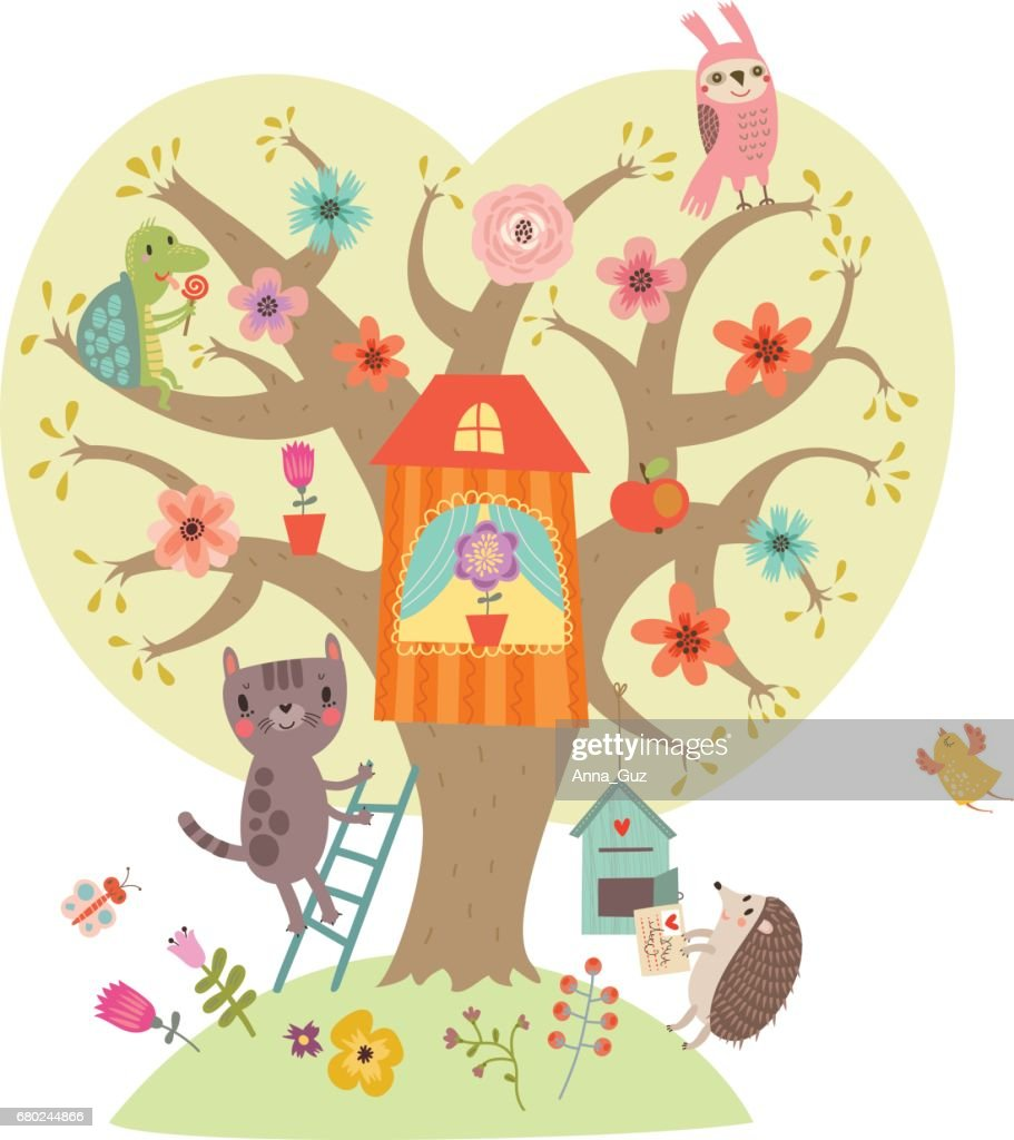 Illustration with cute characters. Cat and flowering tree