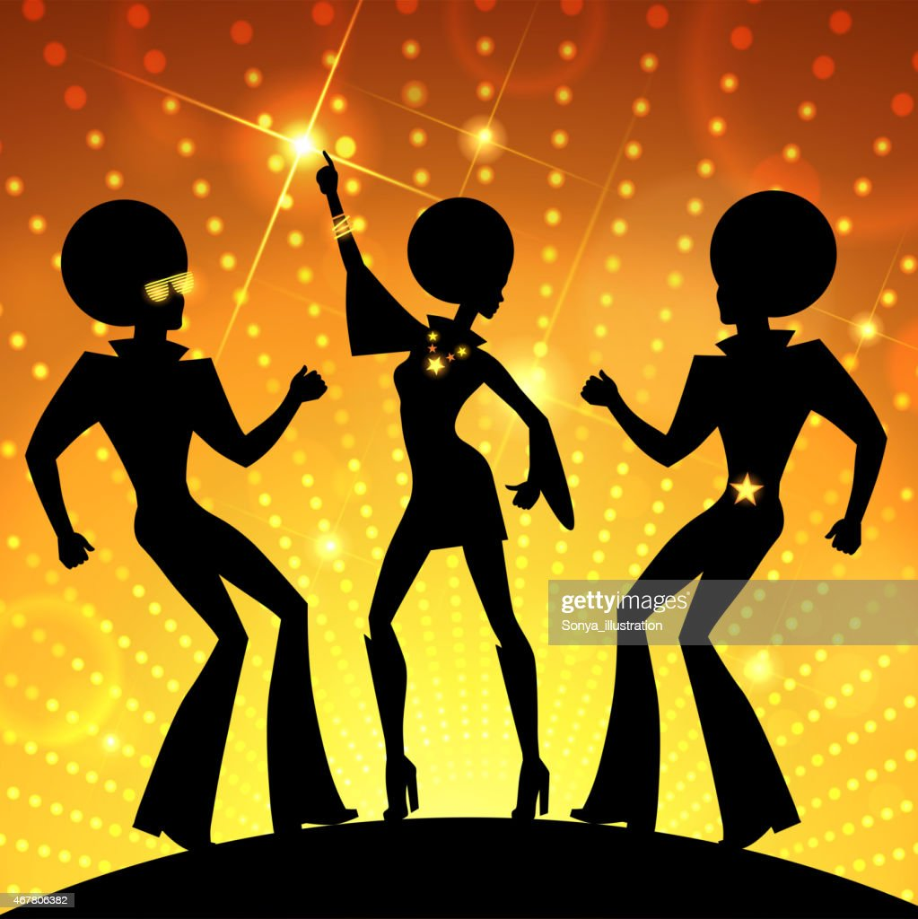 Illustration with dancing people on gold disco lights background