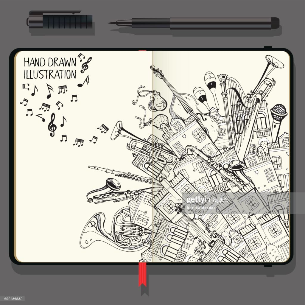 Illustration With Different Houses and Music Instruments. Music Festival in the City. Vector Notebooks with Fine Liner Pen and Hand Drawn Doodles.