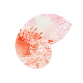 Illustration with doodle sea shells and watercolor background