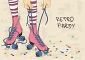 Illustration with female legs in retro roller skates