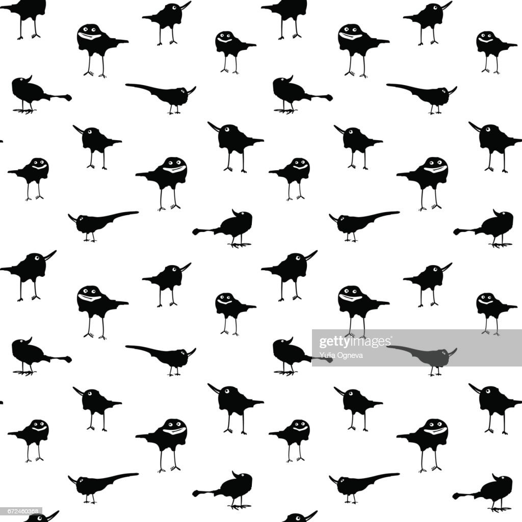 Illustration with happy crows on white background. Seamless pattern.
